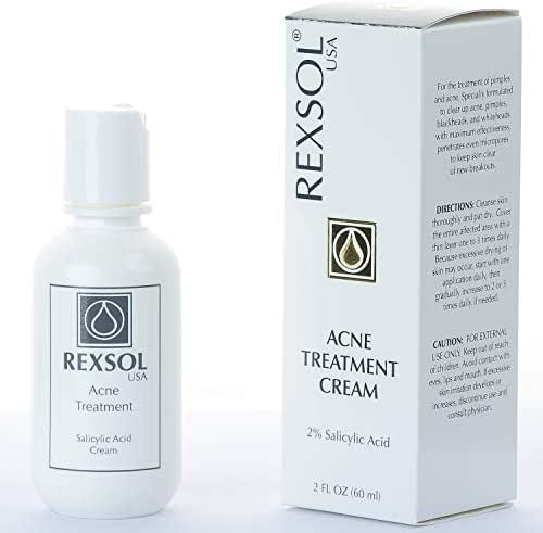 Rexsol Acne Treatment Cream Salicylic Acid Cream | Fights all causes of acne | Contains the most effective ingredients | Formulated with Salicylic Acid to clear up acne pimples(60 ml / 2 fl oz)