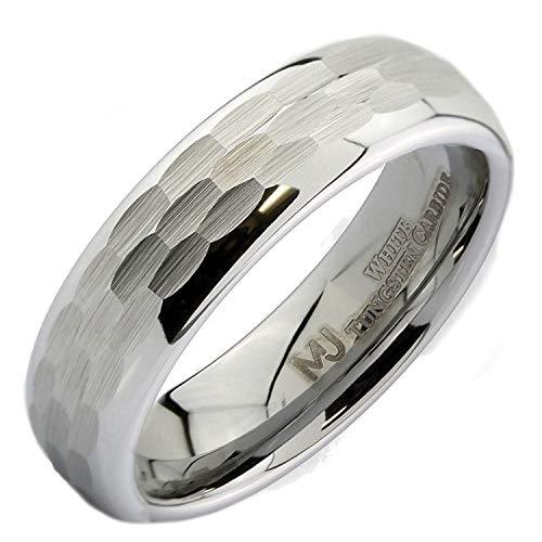 MJ Metals Jewelry White Tungsten Carbide Hammered Center 6mm Wedding Band Ring Size 10.5