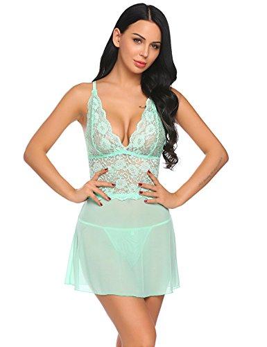 Dethler Women Sexy Lingerie Mini Babydoll Sleepwear Strappy lace Dress