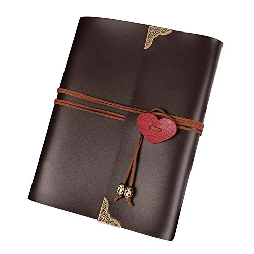 XDOBO Wedding Photo Album DIY Scrapbook with Love Heart Leather Cover for Honeymoon Anniversary Wedding Birthday(Brown)