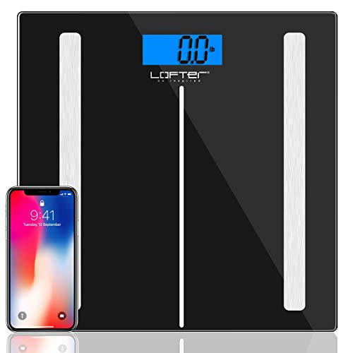 Bluetooth Body Fat Scale, LOFTER Smart Digital Weight Scale Wireless Bathroom Scale 12 Body Composition Analyzer with iOS & Android APP for Body Weight, Fat, Water, BMI, BMR, Muscle Mass, - Digital Wireless Scale