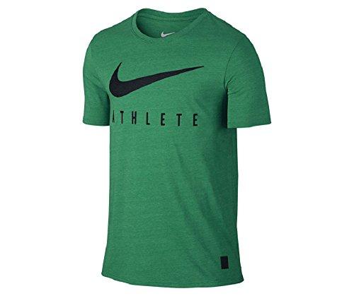 Nike Mens Dri-Fit DB Mesh Swoosh Athletic T-Shirt Green/Black 806377-319 (X-Large)