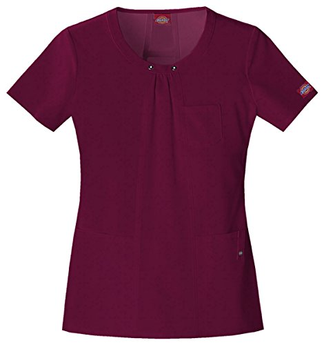 Dickies Medical Scrubs 82850 Women's Jr Fit Xtreme Sretch Scoop Neck Scrub Top Wine (Medical Scoop Neck)