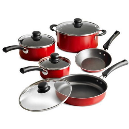 (Tramontina 9-Piece Simple Cooking Nonstick Cookware Set - Red)