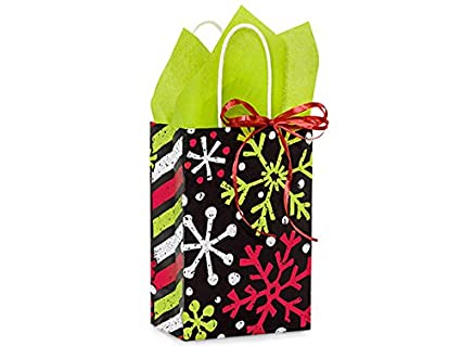 Amazon.com: Christmas Gift Bags - Rose Chalkboard Snowflakes Mini Pk ...