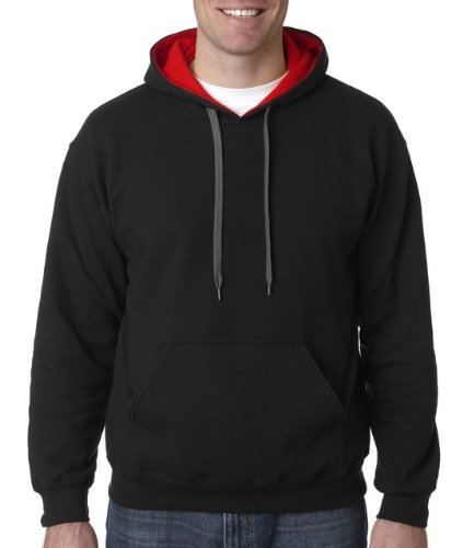 Adult Heavy Blend Contrast Hooded Sweatshirt (Black/ Red) (1 Adult Hooded Sweatshirt)
