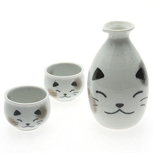 123kotobukijapanstore Japanese Calligraphy Sake Set, 1:2 White Calico Cat