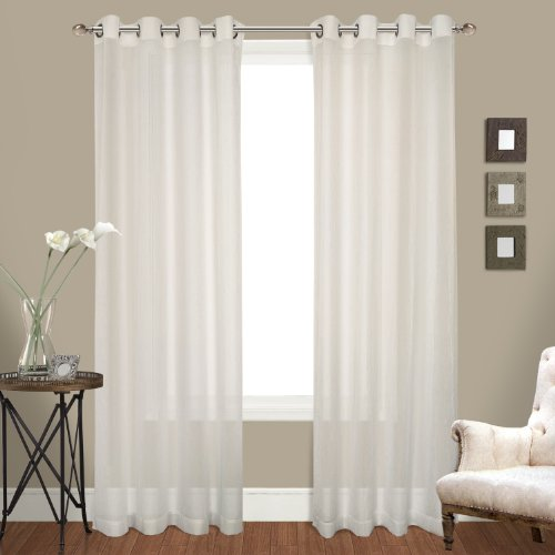 United Curtain Venetian Crushed Voile Window Curtain Panel, 100 by 84-Inch, Natural, Set of - Crushed Voile