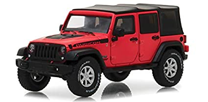 2017 Jeep Wrangler Unlimited Rubicon Recon Red With Black Top In Display  Showcase 1/43