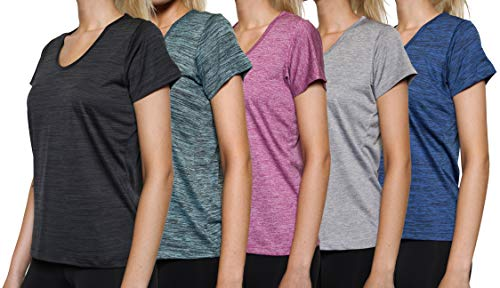 5 Pack: Womens V Neck T-Shirt Ladies Yoga Top Athletic Active Wear Gym Workout Zumba Exercise Running Quick Dry Fit Dri Fit Clothes - Set -