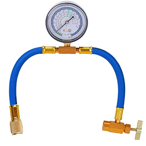 R134a Charging Hose Replacement for Recharging Refrigerant,U-Charge Hose Can Tap with Gauge - R-134a can to R-12/R-22 Port (Refrigerant Replacement Gauges)