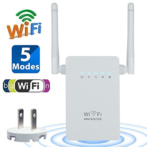 Wifi Repeater, AC300 Wifi Range Extender 300Mbps Signal Booster Wireless with Antenna Ethernet Port 802.11n/b/g Network Repeater/Router/AP Mode with WPS Long Distance Coverage