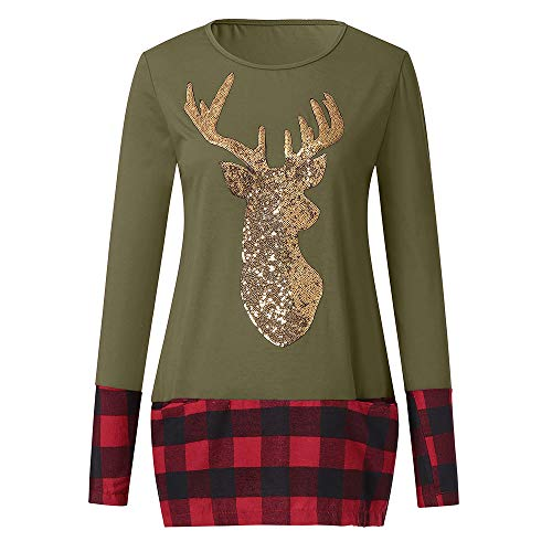Pullover for Women, Fzitimx Womens Christmas Tops Plaid Splice Hem Reindeer Long Sleeve Cute Tunic Blouse Women Tops(Green L5) ()