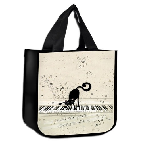 kiub – scp01 a05 – Piccolo sacchetto Shopper Decor gatto pianista