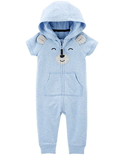 Carter's Baby Boys' One Piece Fleece Jumpsuit Blue Bears Short Sleeve, 3 Months ()