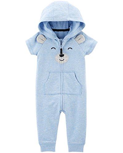 Carters Fleece Blue (Carter's Baby Boys' One Piece Fleece Jumpsuit Blue Bears Short Sleeve, 6 Months)