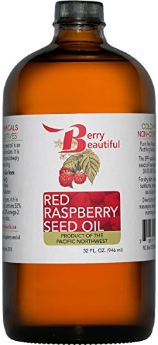 Red Raspberry Seed Oil – 32 Fl Oz (946 mL) in Glass Bottle – Cold Pressed by Berry Beautiful from locally grown Raspberries – 100% Pure & Unrefined