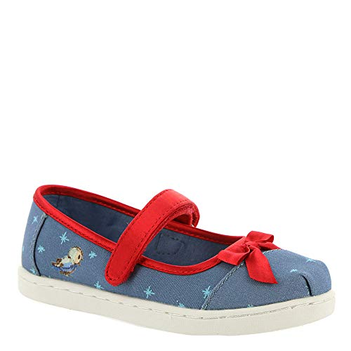 TOMS Tiny Toddlers Mary Jane Blue Snow White Printed Canvas/Bow Slip-On Shoe 7 Infants US ()