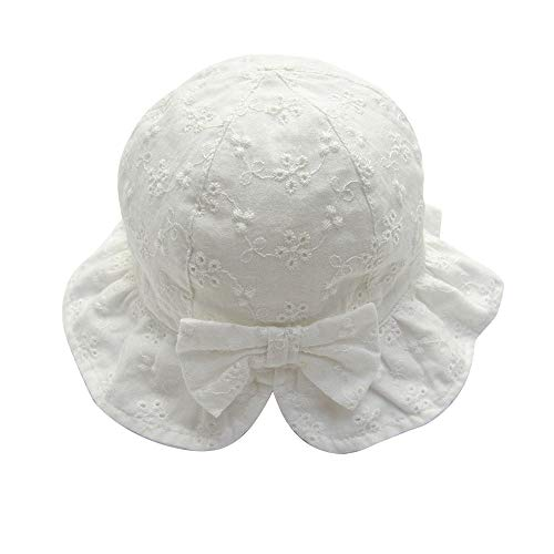 Infant Newborn Baby Girls Sun Hats with Chin Strap Cotton Lace Embroidery Breathable Bow Hat White 0-6months (Chin Strap Sun Hat)