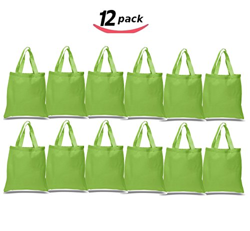 BagzDepot 12 Pack Durable Cotton Canvas Reusable Blank 15in