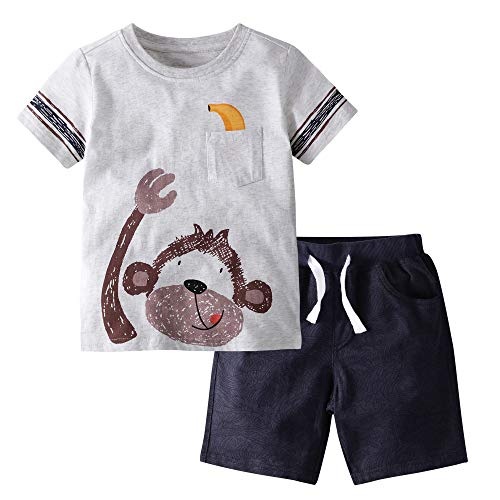 Gorboig Little Boys' Cotton Clothing Short Baby Sets(Monkey-3T)