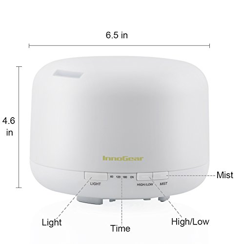 InnoGear 500ml Aromatherapy Essential Oil Diffuser Cool Mist Humidifier Waterless Auto Shut off with 4 Timers and 7 LED Color Changing Lights