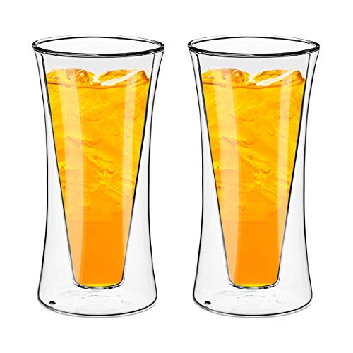 Contemporary Water - Style Setter Double Wall Tumblers - Set of 2 11.8oz Insulated Home Barware Glasses for Cold Drinks, Cocktails, Coffee, Hot Tea & Other Beverages - Unique Gift Idea for Birthday, Holiday & More