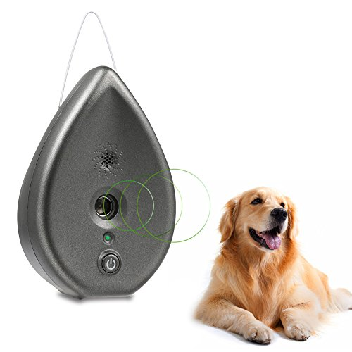 Petacc Ultrasonic Bark Control Indoor Sonic Bark Deterrent in Water Droplet Shape, Change Pets Bad Habit Of Barking (Grey)