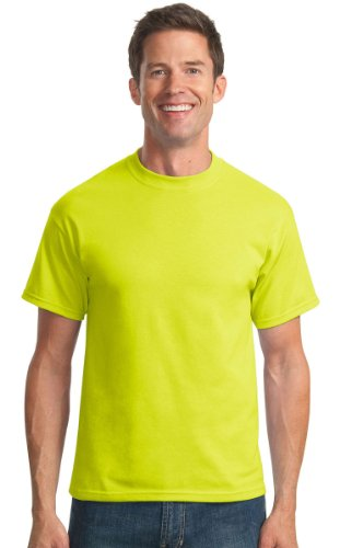 Port & Company Mens 50/50 Cotton/Poly T-Shirt PC55 -Safety Green L (Green Visibility High)