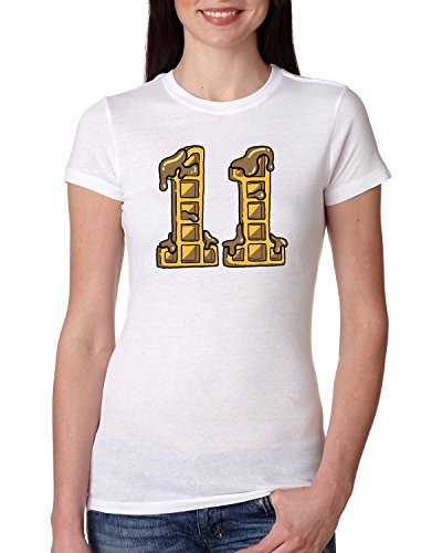 Number Eleven Waffle Design   Womens Pop Culture Junior Fit Tee Graphic T-Shirt, White, - Want Skinny A Face I