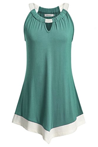 Helloacc Workout Fitness Tanks, Cold Shoulder Tops For Women Plus Size Green XL
