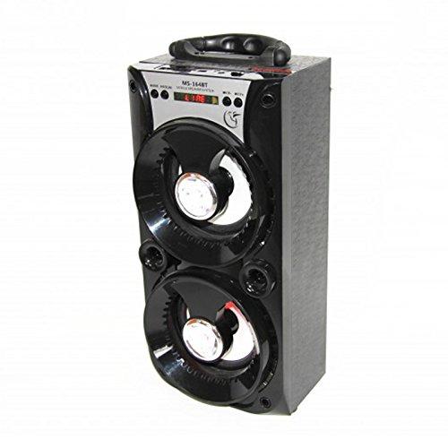 Donkeyphone - ALTAVOZ HIFI CAJA PORTÁTIL NEGRO ALTAVOCES CIRCULARES MS 164 BT, BLUETOOTH, SD, USB, RADIO FM Y AUX: Amazon.es: Electrónica