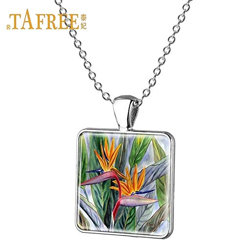 (Pendant Necklaces - Beautiful Flower Pendant Necklace The Bird of Paradise Flower Pattern Necklace Ladies Clothing Accessories Jewelry J419 - by Mct12-1 PCs)