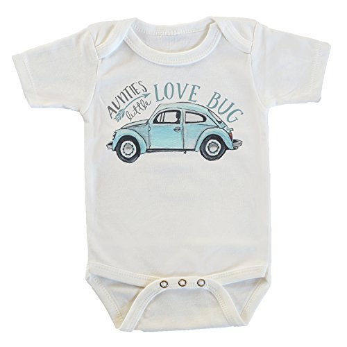 Witty and Bitty Auntie's Little Lovebug Onesie/Bodysuit, Gifts from Aunt, Funny Onesie (12-18 Months) White (Best Baby Gifts From Aunt)