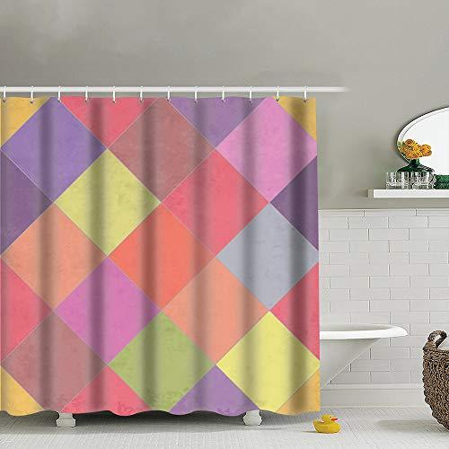best bags Textured Argyle Eps 10 Shower Curtain Set, Relaxing Summer Landscape Bathroom Decor,Shower Curtain Set Waterproof 60X72 Inch