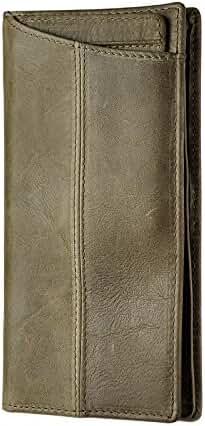 Le'aokuu Mens Genuine Leather Bifold Wallet Organizer Checkbook Card Case