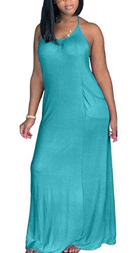 Jaycargogo Femmes Colorant De Cravate Dos Nu Licou Lâche Robe Maxi Longue 7