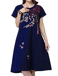 Hole Tide Women's Crew Neck Cotton & Linen Short Sleeves Floral Mid-Long Dress
