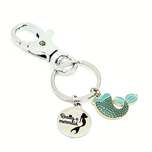 Really a Mermaid Tail Laser Etched Keyring with Colorful Enamel Tail