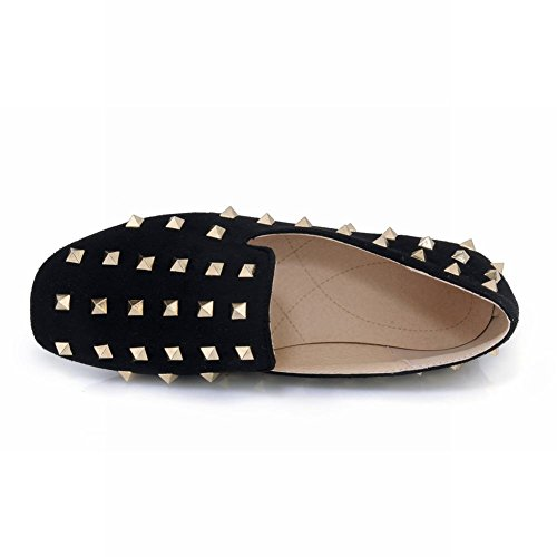 Zool Dames Vierkante Neus Retro Casual Mode Spikes Loafer Flats Zwart