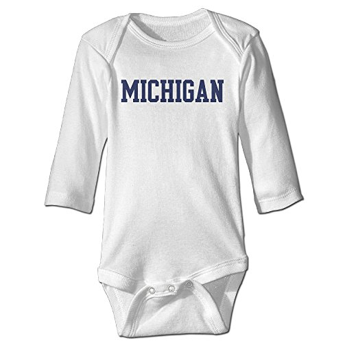 Price comparison product image OOKOO Baby's Michigan Wolverines Logo Bodysuits White 12 Months