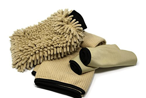 Sarge's Car Care – .50 CAL Car Care Survival Kit – Car Wash Kit Contains – .50 CAL Car Wash Mitt – .50 CAL Car Drying Towel – ( 2 ) .50 CAL Glass Cleaning Towels – Car / RV / Motorcycle Wash Kit