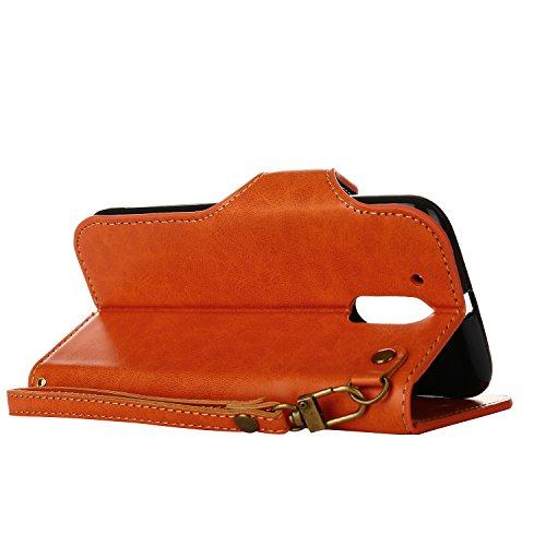 Hülle für Moto G4 Plus,Hülle für Moto G4 Retro Blume Frauen,BtDuck Ultra Slim Tasche Vintage Brieftasche Handyhülle Ledertasche Flip Cover Schutzhülle für Moto G4/Moto G4 Plus Cover mit Magnetverschlu G4/G4 Plus-Orange