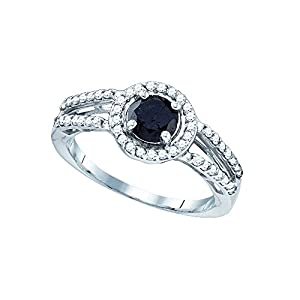 Size 5 - 10k White Gold Round Black Diamond Solitaire Bridal Wedding Band Engagement Ring 1-1/20 Ctw