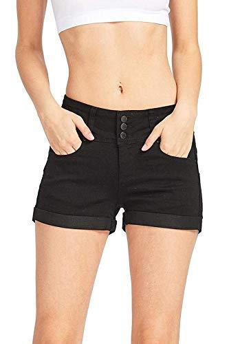 Wax Women's Juniors Stetchy Mid Rise Denim Shorts Black 2X Big