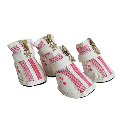 - Sunward Breathable Mesh Pet Shoes Anti-Skid Sole Zipper PAW Protector For Small Medium Dogs 4-Pack (Pink, M)