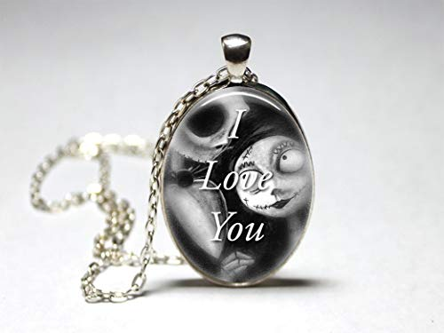 (Jack and Sally I love you Pendant, oval Necklace Glass,women,silver,jewelry,gift)
