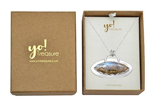 YoTreasure 1 3//4 Long Chain Pendant Labradorite Solid 925 Sterling Silver