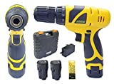 Cheston CH-CD1.2.DRILL Plastic Cordless Drill Screw Driver 10mm Keyless Chuck 12V with Batteries (Yellow)