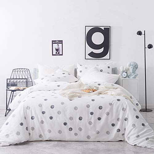SUSYBAO 3 Pieces Duvet Cover Set 100% Natural Cotton Queen Size White Gray Circle Print Bedding with Zipper Ties 1 Polka Dots Patterned Duvet Cover 2 Pillowcases Luxury Quality Comfortable Durable (Patterned Duvet Grey Covers)